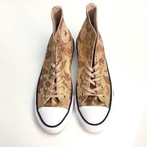🔥Converse Camo Sneakers Size 9 Gold Shimmer New